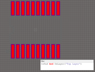 The example board shown with Object set to Pad. Layer is set to Top Layer.