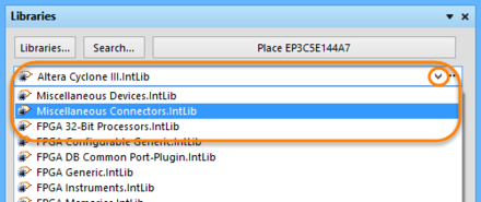 Click the dropdown arrow to select a library.