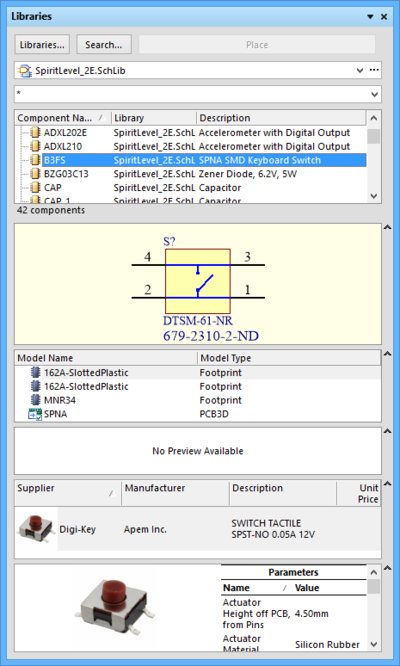 The Libraries panel is used to locate and place components into your design.