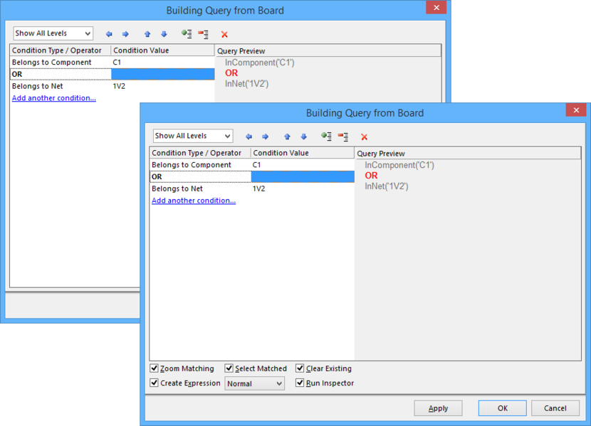 The Query Builder dialog as accessed through the PCB Filter panel and the PCB Rules and Constraints Editor dialog (back) and as accessed through the PCB Editor (front).