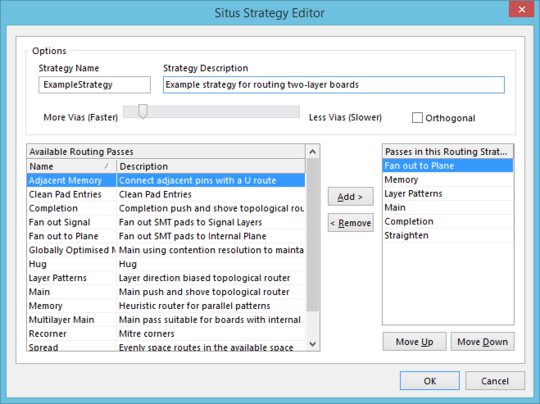 The Situs Strategy Editor dialog.