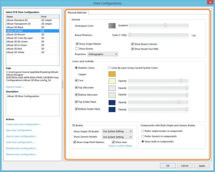 The Physical Materials tab of the View Configurations dialog.
