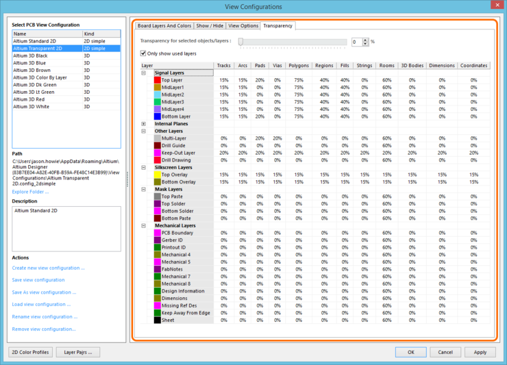 The Transparency tab of the View Configurations dialog.