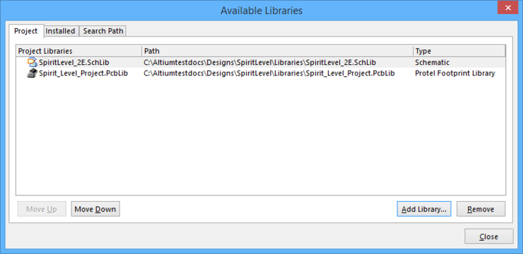 Both Schematic Libraries and PCB libraries are listed in the Project tab of the dialog.