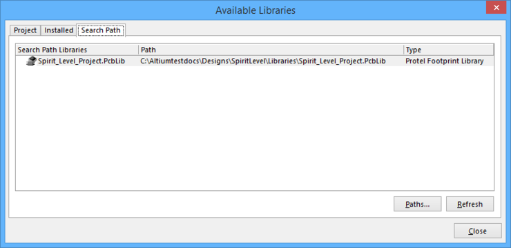 The Search Pathtab enables you to make libraries available that are neither installed or added to the project.