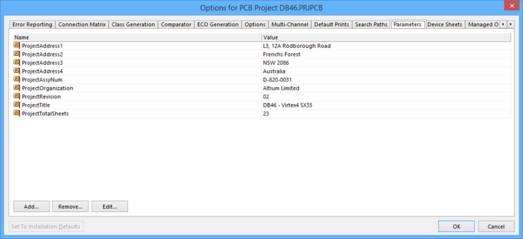 The Parameters tab of the ProjectOptionsdialog