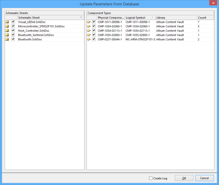 The Update Parameters From Database dialog