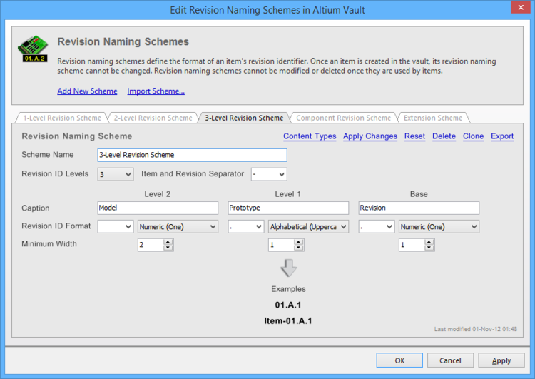 The 3-Level Revision Scheme tab of the Edit Revision Naming Schemes dialog.