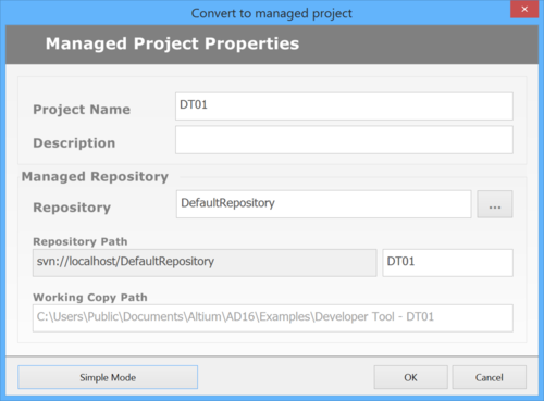 The Convert to Managed Project dialog.
