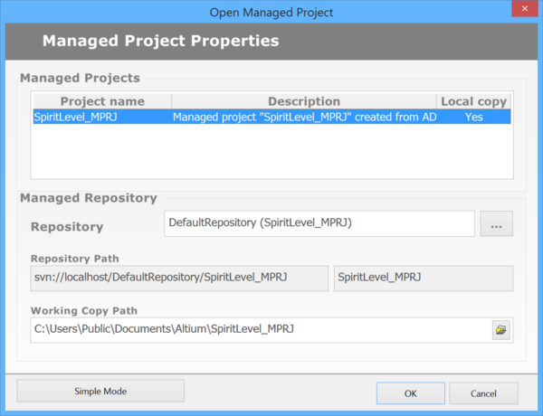 The Open Managed Project dialog.