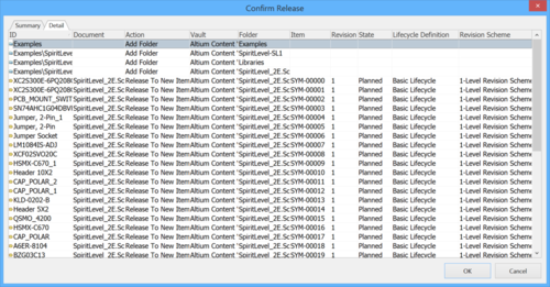 The Details tab of the Confirm Release dialog.