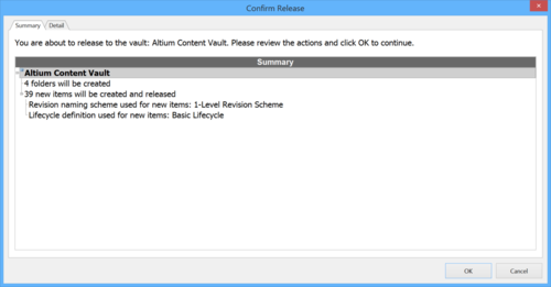The Summary tab of the Confirm Release dialog.