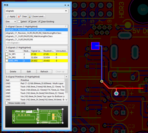 The created xSignal selected in the PCB panel and displayed in the workspace.
