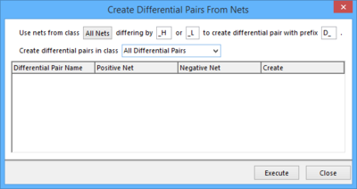 Prospective differential pair objects are listed for creation in response to the filter entries at the top of the dialog.