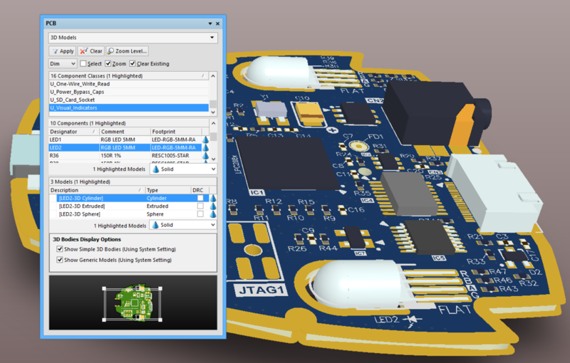 The PCB panel's filter scope progresses through component classes to components and their constituent model elements, while the visual result tracks the changes.