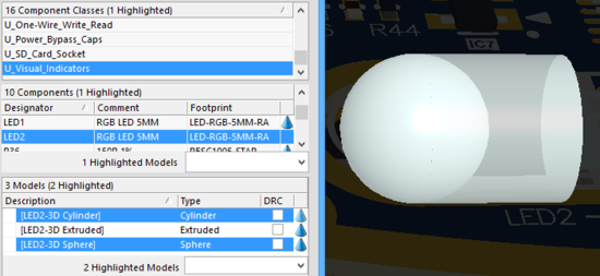 Here, both a cylinder (set to 75% opacity) and a sphere (solid / 0% opacity) from a LED component are selected.