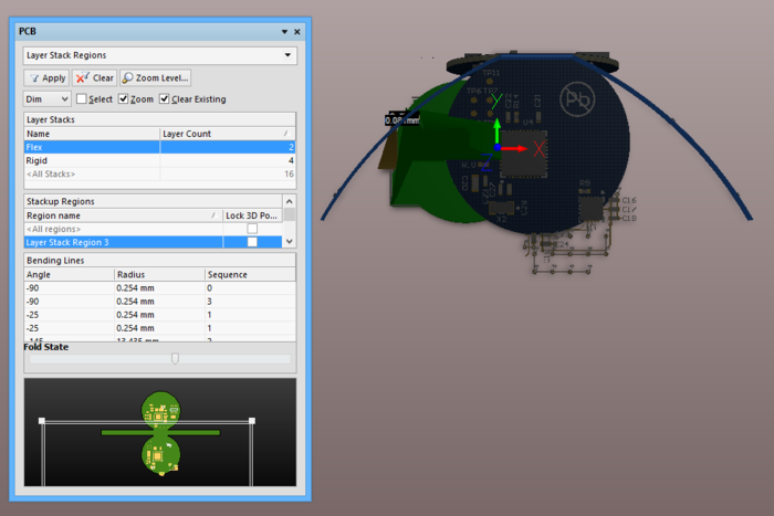 The board in 3D view, part way through its fold up range as set by the position of Foldup State slider.