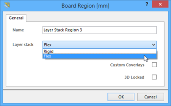 A board region's name (Flex Region 1) and its assigned layer stackup (Flex1)  defined in the Board Region dialog. One region should be locked as a 3D reference.
