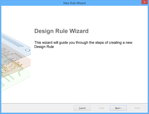 The front page of the Design Rule Wizard.