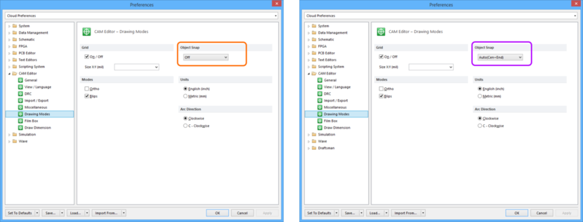 Comparing default settings for the CAM Editor - Drawing Modes page of the Preferences dialog between Altium Designer 16.0 (left) and Altium Designer 16.1 (right).