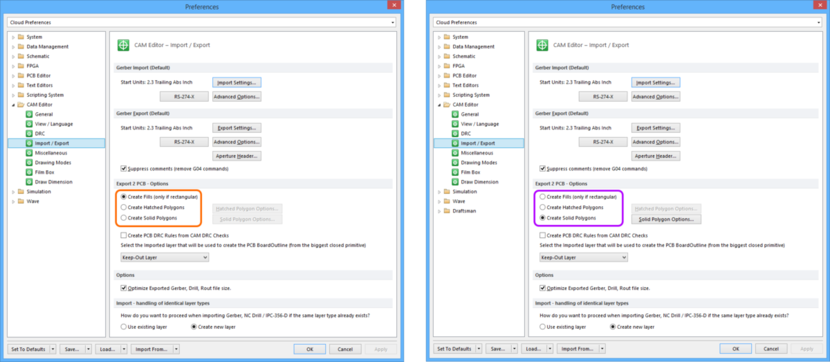 Comparing default settings for the CAM Editor - Import / Export page of the Preferences dialog between Altium Designer 16.0 (left) and Altium Designer 16.1 (right).