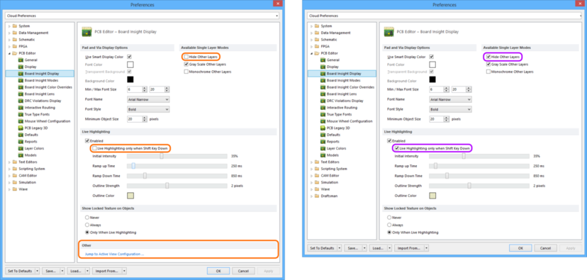 Comparing default settings for the PCB Editor - Board Insight Display page of the Preferences dialog between Altium Designer 16.0 (left) and Altium Designer 16.1 (right).