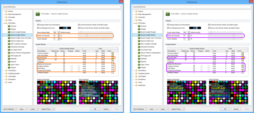 Comparing default settings for the PCB Editor - Board Insight Modes page of the Preferences dialog between Altium Designer 16.0 (left) and Altium Designer 16.1 (right).