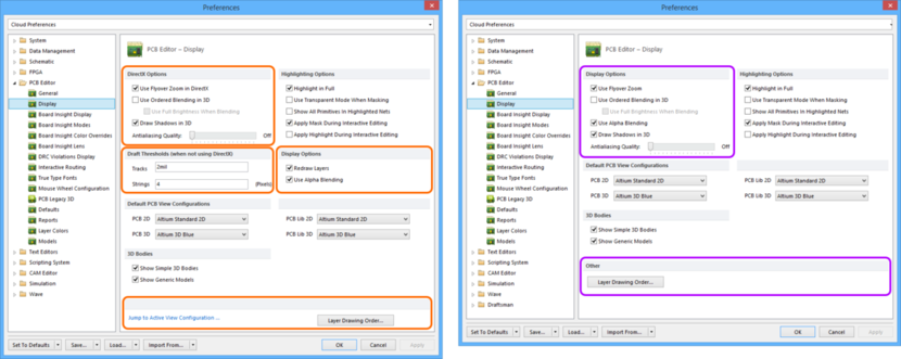 Comparing default settings for the PCB Editor - Display page of the Preferences dialog between Altium Designer 16.0 (left) and Altium Designer 16.1 (right).