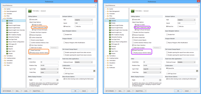 Comparing default settings for the PCB Editor - General page of the Preferences dialog between Altium Designer 16.0 (left) and Altium Designer 16.1 (right).