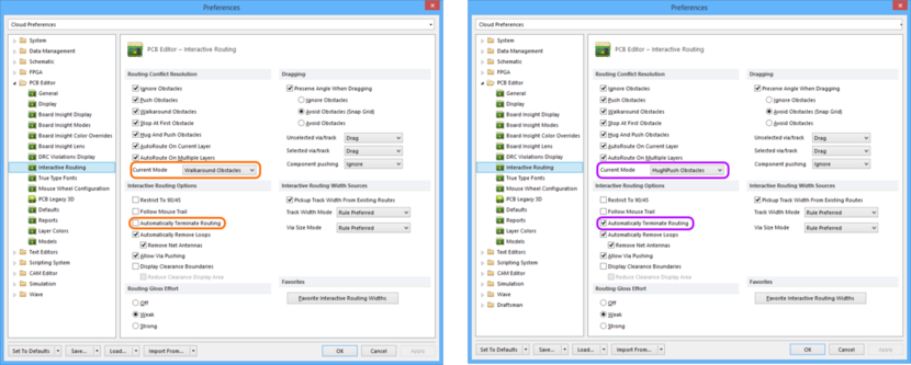 Comparing default settings for the PCB Editor - Interactive Routing page of the Preferences dialog between Altium Designer 16.0 (left) and Altium Designer 16.1 (right).