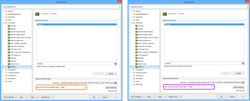 Comparing default settings for the PCB Editor - Models page of the Preferences dialog between Altium Designer 16.0 (left) and Altium Designer 16.1 (right).