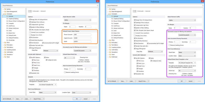 Comparing default settings for the Schematic - General page of the Preferences dialog between Altium Designer 16.0 (left) and Altium Designer 16.1 (right).