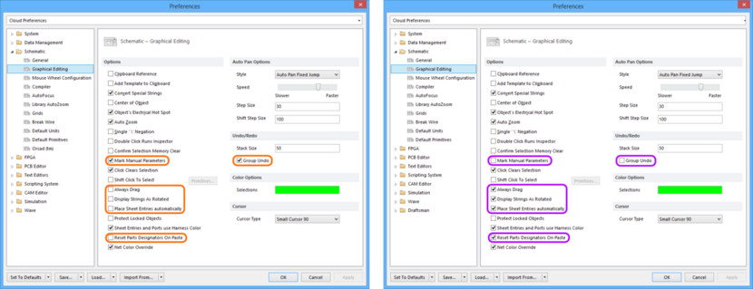 Comparing default settings for the Schematic - Graphical Editing page of the Preferences dialog between Altium Designer 16.0 (left) and Altium Designer 16.1 (right).