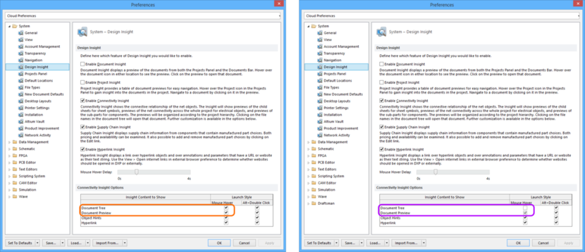 Comparing default settings for the System - Design Insight page of the Preferences dialog between Altium Designer 16.0 (left) and Altium Designer 16.1 (right).