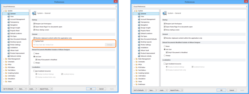 Comparing default settings for the System - General page of the Preferences dialog between Altium Designer 16.0 (left) and Altium Designer 16.1 (right).