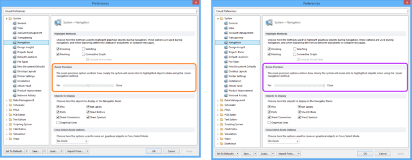 Comparing default settings for the System - Navigation page of the Preferences dialog between Altium Designer 16.0 (left) and Altium Designer 16.1 (right).