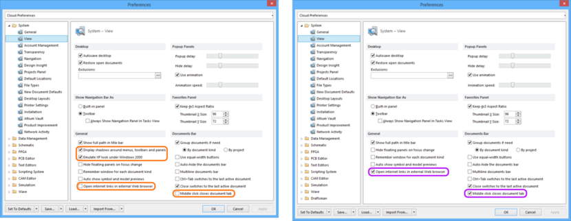 Comparing default settings for the System - View page of the Preferences dialog between Altium Designer 16.0 (left) and Altium Designer 16.1 (right).