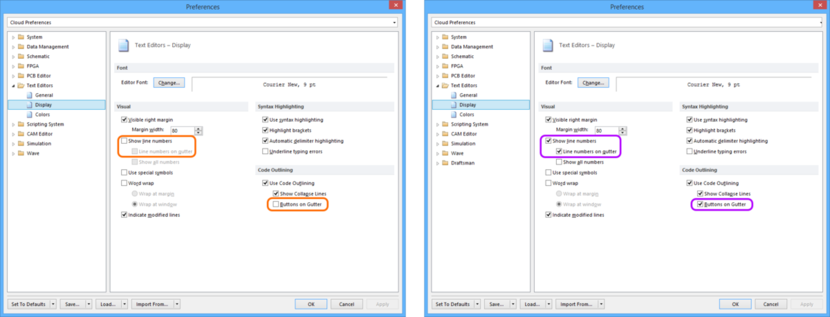 Comparing default settings for the Text Editors - Display page of the Preferences dialog between Altium Designer 16.0 (left) and Altium Designer 16.1 (right).