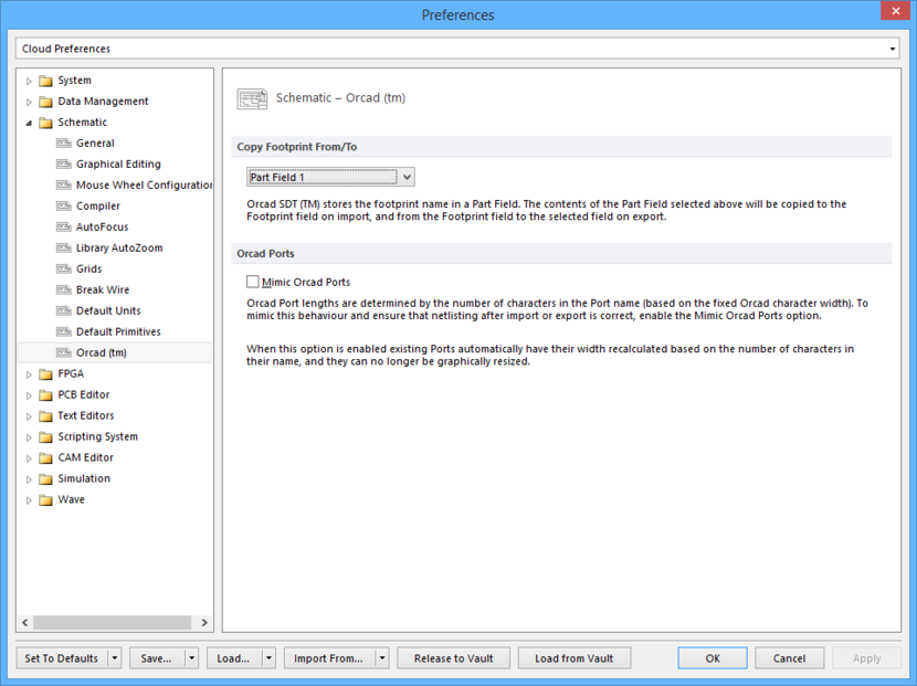 The Schematic - Orcad™ page of the Preferences dialog.