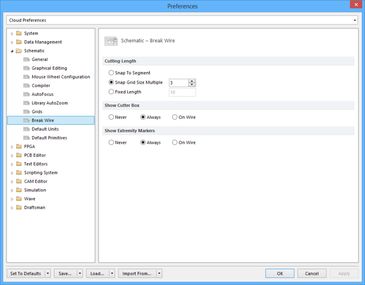 The Schematic - Break Wire page of the Preferences dialog.
