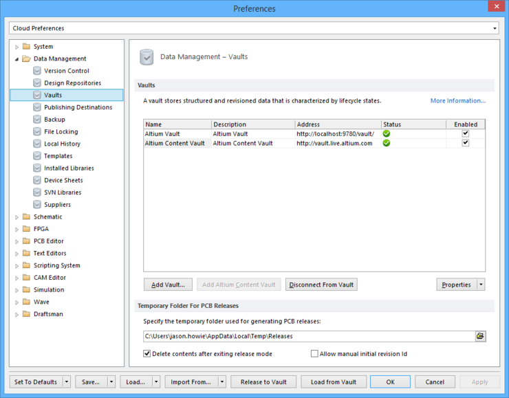 The Data Management - Vaults page of the Preferences dialog.