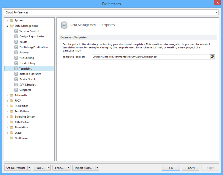 The Data Management - Templates page of the Preferences dialog