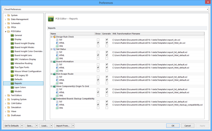 The PCB Editor - Reports page of the Preferences dialog.