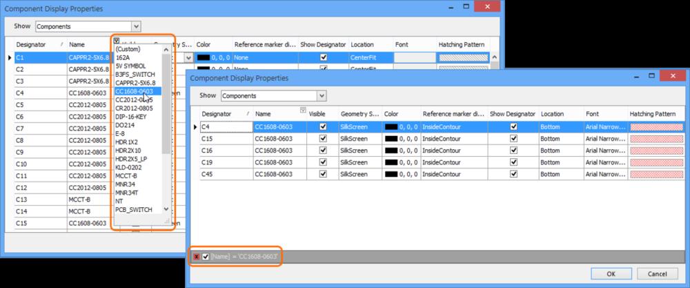 使用特定的文本查询对数据进行自动过滤,从而对元件条目进行分组,或者使用全文查询方式进行自定义过滤(见下图)。