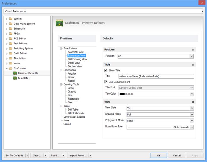 Draftsman优选设置的设定值确定视图及放置在PCB文档上的对象的默认配置—这些会受到Draftsman Properties面板中进行的更改的影响。