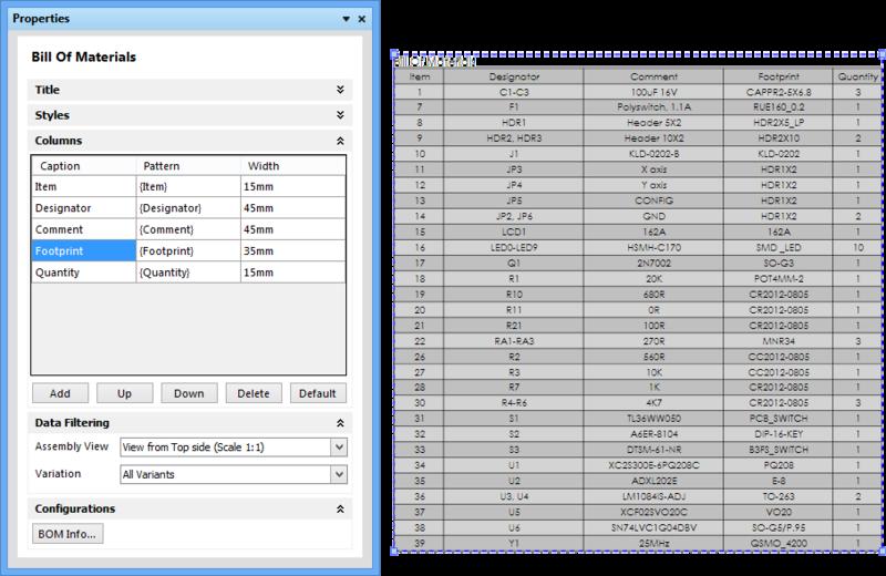 处理Properties面板Columns部分中放置的材料清单表列。