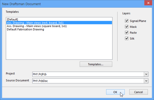 为指定项目和PCB创建空白的或基于模板的Draftsman文档。