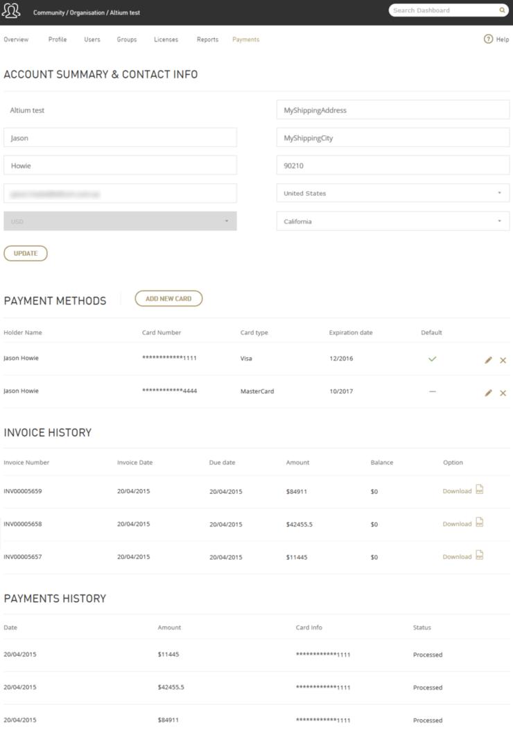 为您的Altium帐户创建财务档案,包括相关付款方式,以便于使用Altium在线支付功能。
