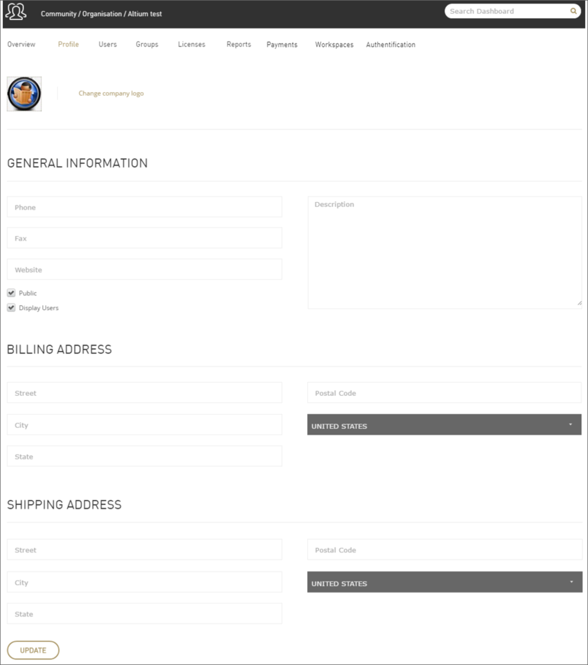 View and edit top-level information for your account.