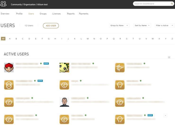 Страница управления учетными записями пользователей в Dashboard.